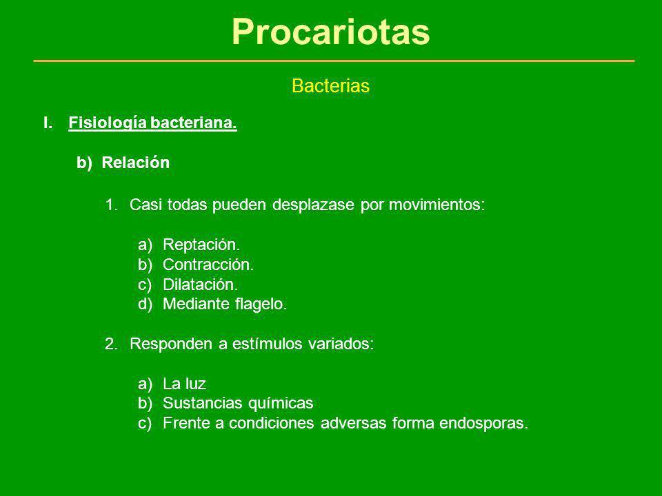 Procariotas Bacterias I.Fisiología bacteriana. b)Relación 1.Casi todas pueden desplazase por movimientos: a)Reptación. b)Contracción. c)Dilatación. d)