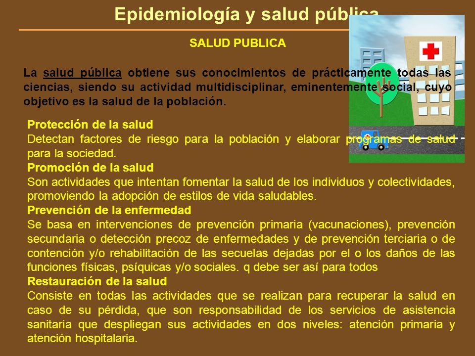 Epidemiología y salud pública SALUD PUBLICA La salud pública obtiene sus conocimientos de prácticamente todas las ciencias, siendo su actividad multid