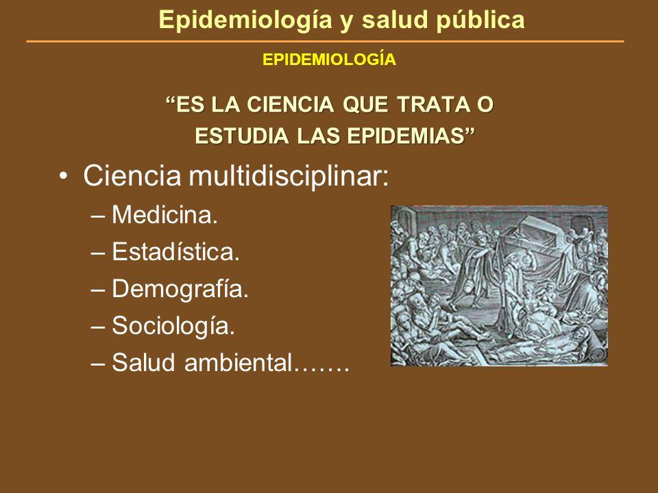 Epidemiología y salud pública EPIDEMIOLOGÍA ES LA CIENCIA QUE TRATA O ESTUDIA LAS EPIDEMIAS ESTUDIA LAS EPIDEMIAS Ciencia multidisciplinar: –Medicina.