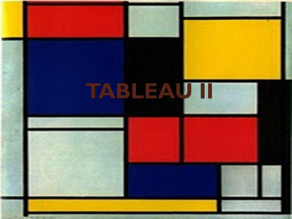 TABLEAU II (ficha técnica) o Titulo : Tableau II o Autor: Piet Mondrian (1972-1944) o Cronología: 1921-1925 o Estilo: Neoplasticista o Tecnica: oelo sobre tela o Tema: abstracto o Localización: colección Max Hill ( Zúrich )