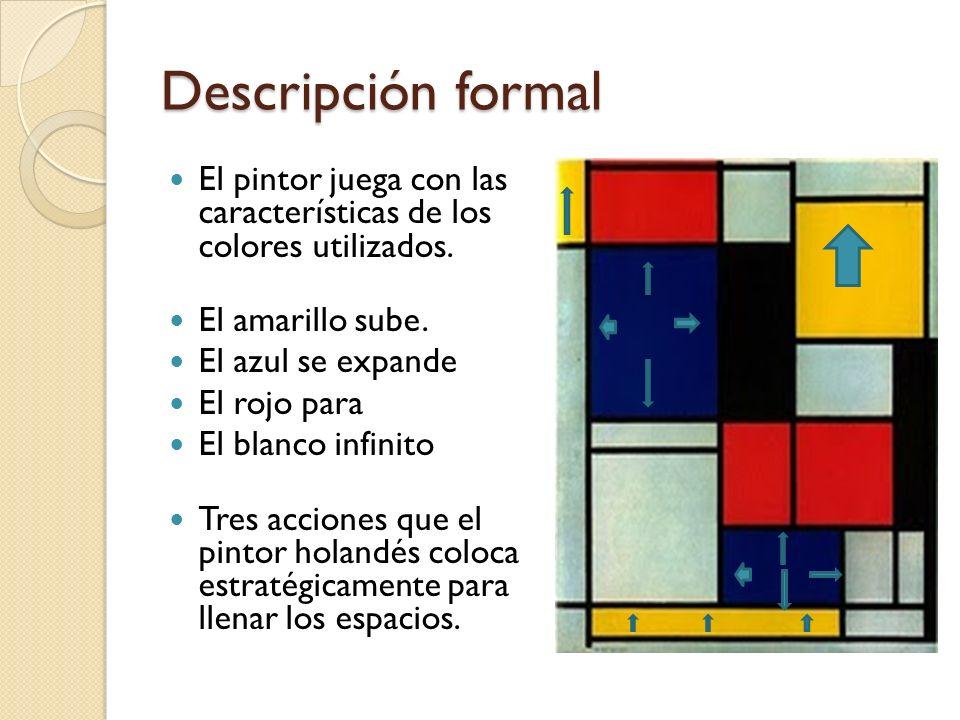 Descripción formal Mondrian añade una hábil diversidad geométrica basada en el cuadrado y en el rectángulo, que ayuda a crear una estructura más dinámica que imprime una gran movilidad al conjunto.