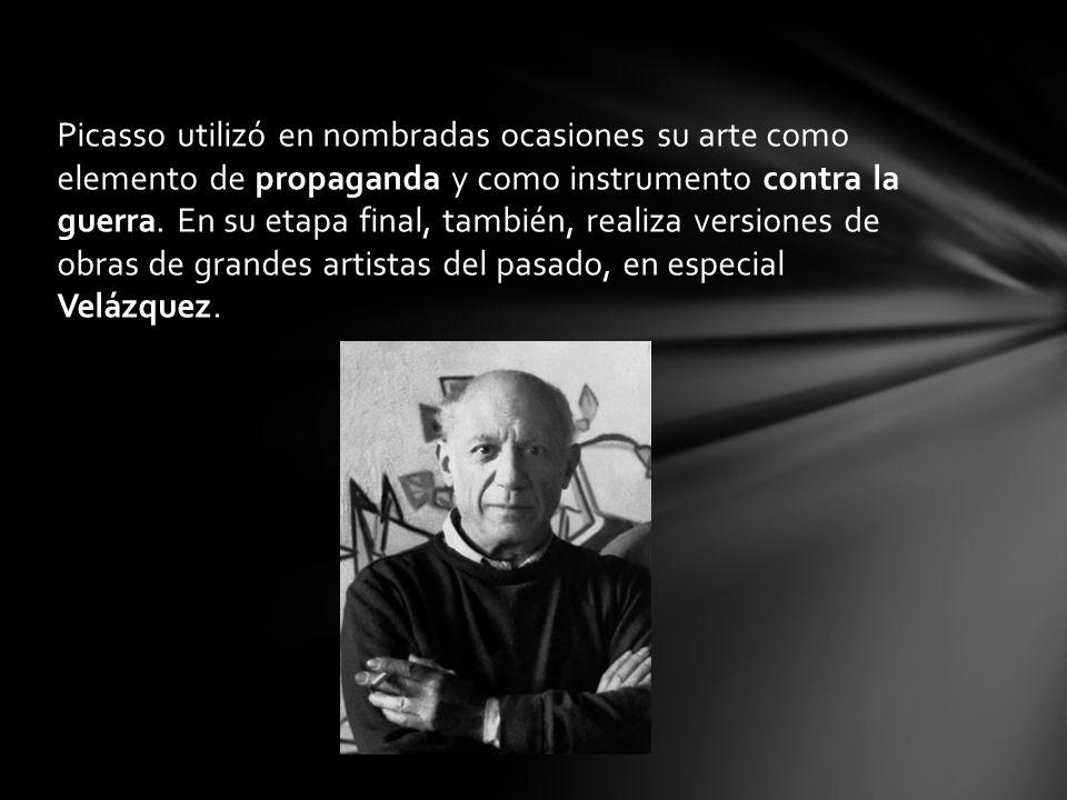 Picasso utilizó en nombradas ocasiones su arte como elemento de propaganda y como instrumento contra la guerra. En su etapa final, también, realiza ve