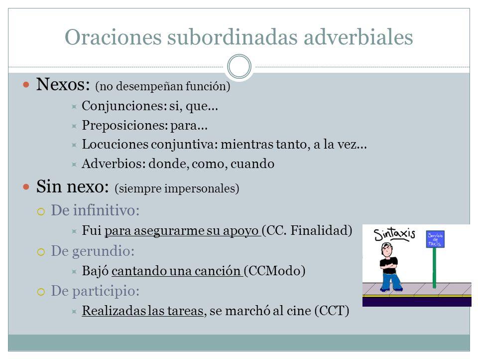 Oraciones subordinadas adverbiales Nexos: (no desempeñan función) Conjunciones: si, que… Preposiciones: para… Locuciones conjuntiva: mientras tanto, a