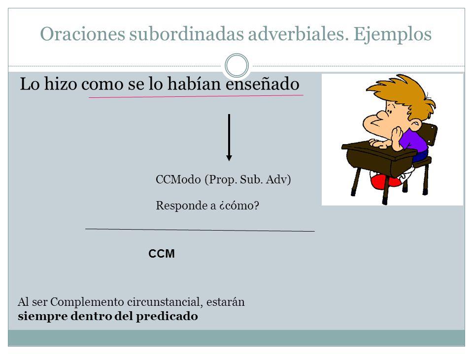 Oraciones subordinadas adverbiales. Ejemplos Lo hizo como se lo habían enseñado CCModo (Prop. Sub. Adv) Al ser Complemento circunstancial, estarán sie