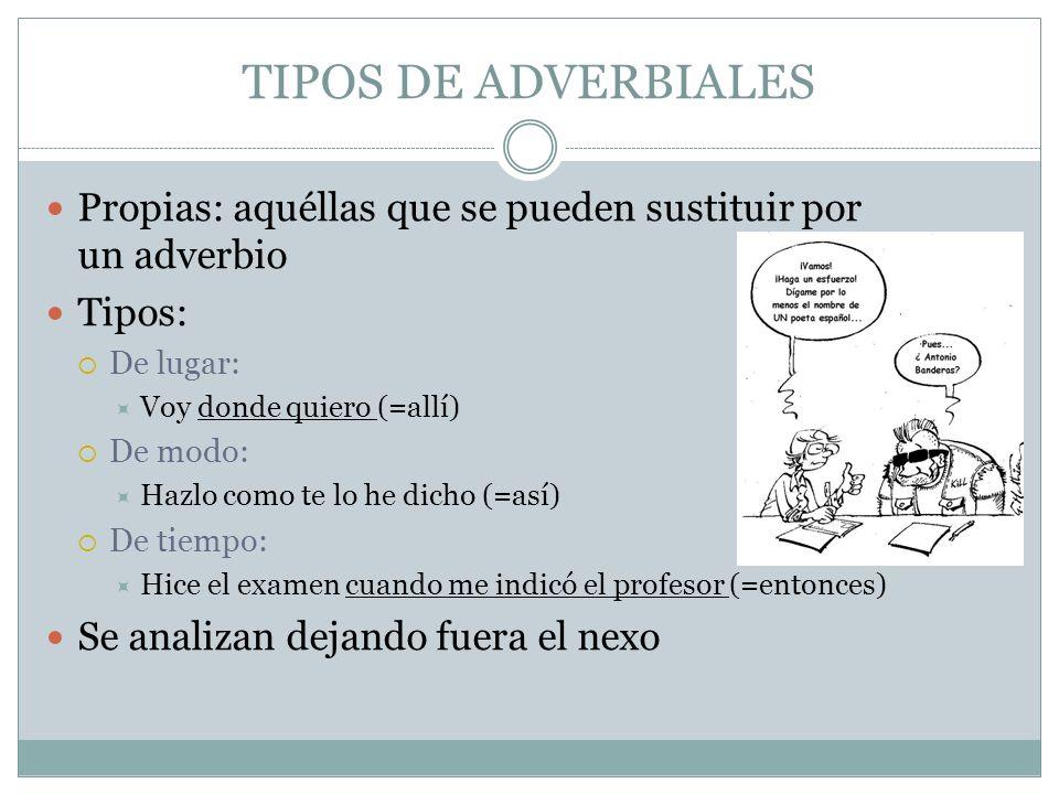TIPOS DE ADVERBIALES Propias: aquéllas que se pueden sustituir por un adverbio Tipos: De lugar: Voy donde quiero (=allí) De modo: Hazlo como te lo he