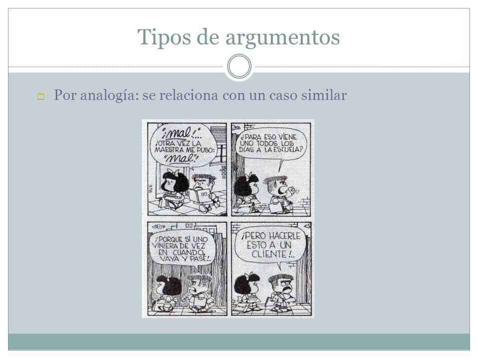 Tipos de argumentos Por analogía: se relaciona con un caso similar