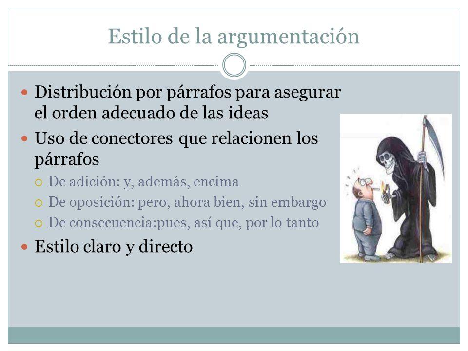 Estilo de la argumentación Distribución por párrafos para asegurar el orden adecuado de las ideas Uso de conectores que relacionen los párrafos De adi