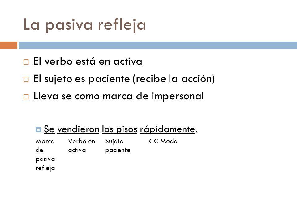 La pasiva refleja El verbo está en activa El sujeto es paciente (recibe la acción) Lleva se como marca de impersonal Se vendieron los pisos rápidament