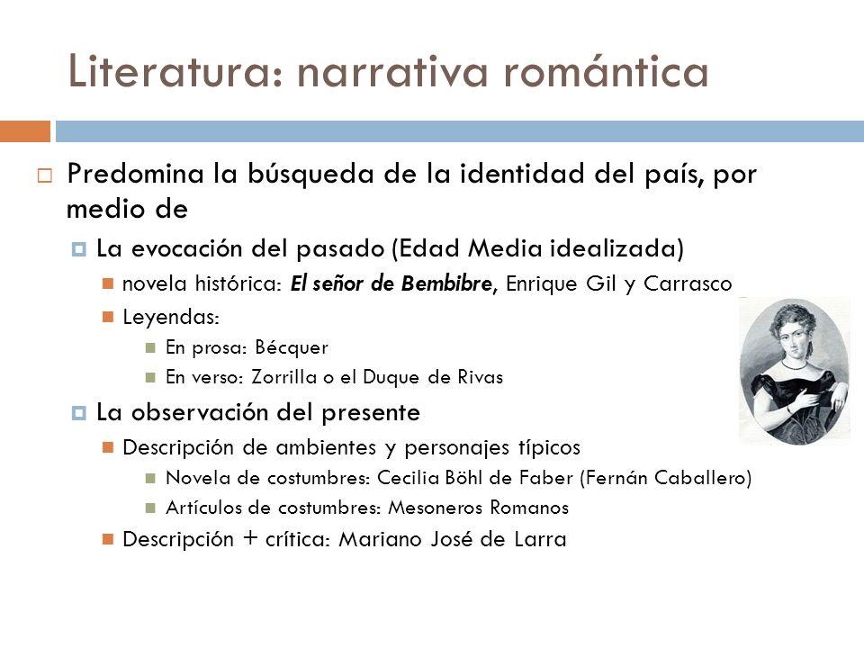 Literatura: narrativa romántica Predomina la búsqueda de la identidad del país, por medio de La evocación del pasado (Edad Media idealizada) novela hi