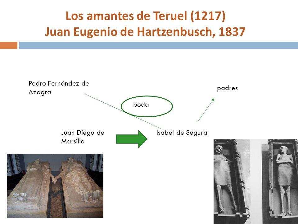 Los amantes de Teruel (1217) Juan Eugenio de Hartzenbusch, 1837 Juan Diego de Marsilla Isabel de Segura Pedro Fernández de Azagra padres boda