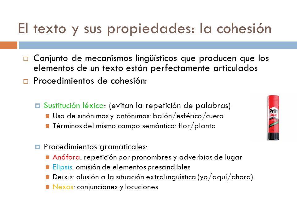 El texto y sus propiedades: la cohesión Conjunto de mecanismos lingüísticos que producen que los elementos de un texto están perfectamente articulados