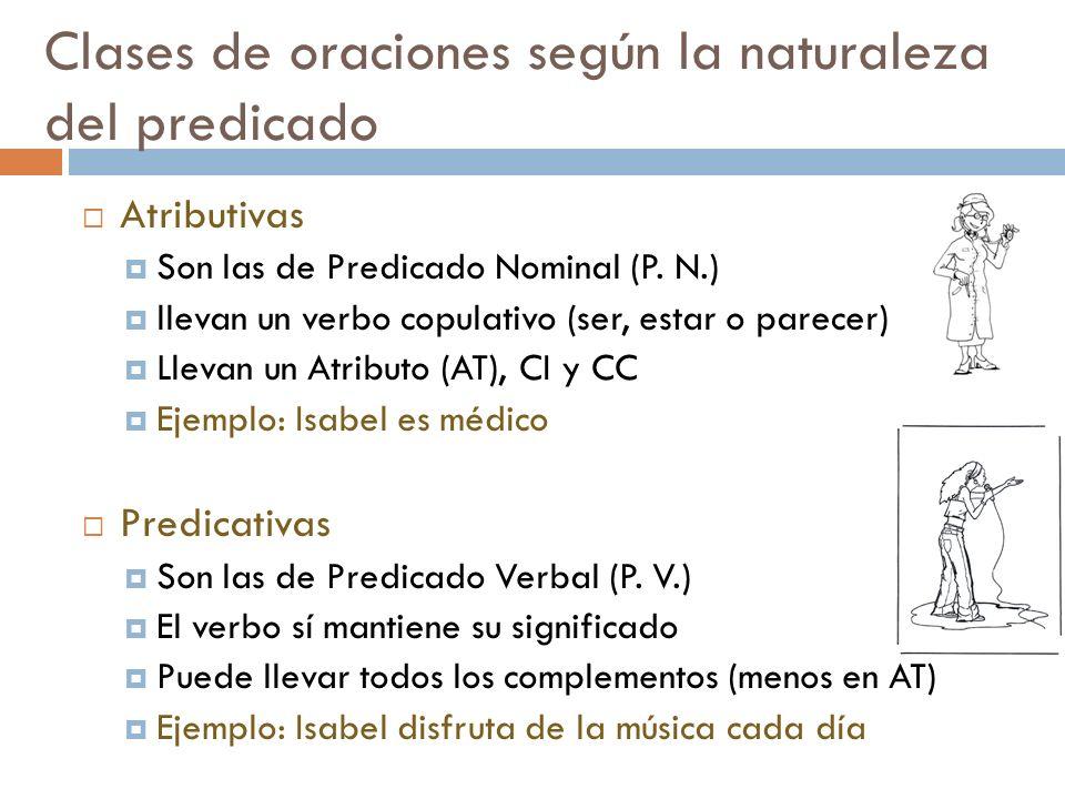 Clases de oraciones según la naturaleza del predicado Atributivas Son las de Predicado Nominal (P. N.) llevan un verbo copulativo (ser, estar o parece