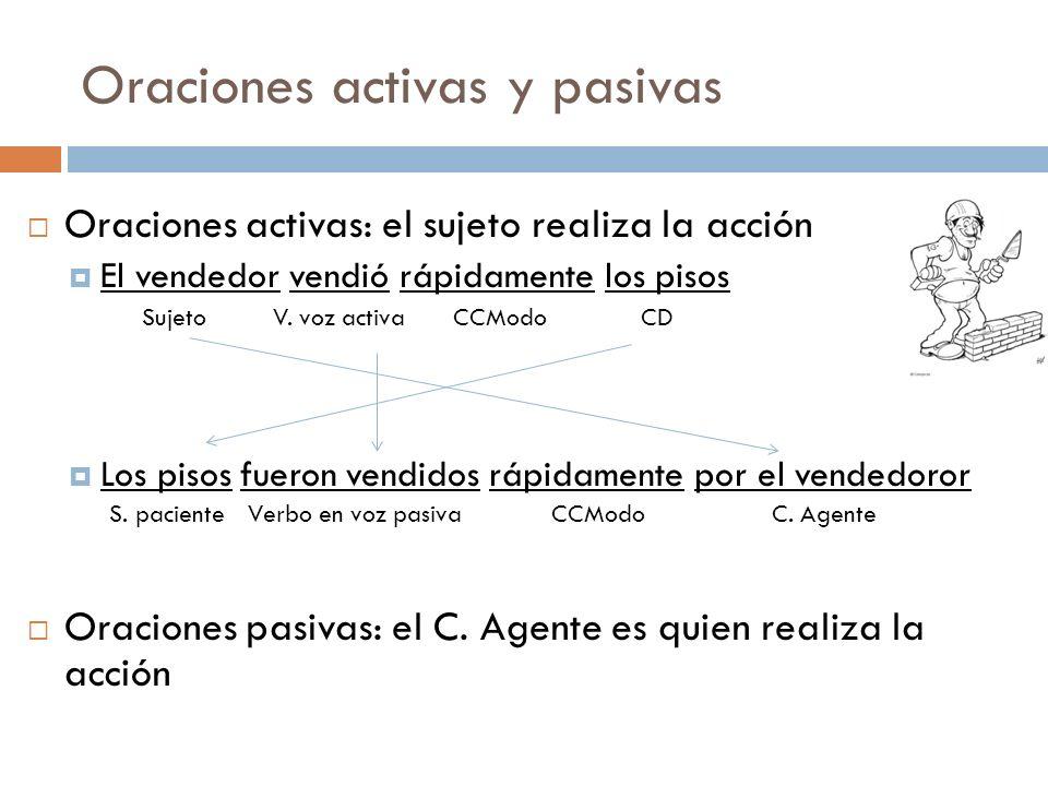 La pasiva refleja El verbo está en activa El sujeto es paciente (recibe la acción) Lleva se como marca de impersonal Se vendieron los pisos rápidamente.