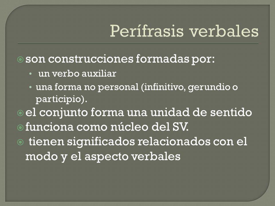 Perífrasis verbales son construcciones formadas por: un verbo auxiliar una forma no personal (infinitivo, gerundio o participio).