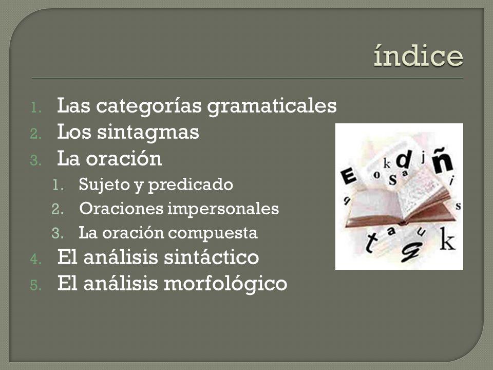 1.Las categorías gramaticales 2. Los sintagmas 3.
