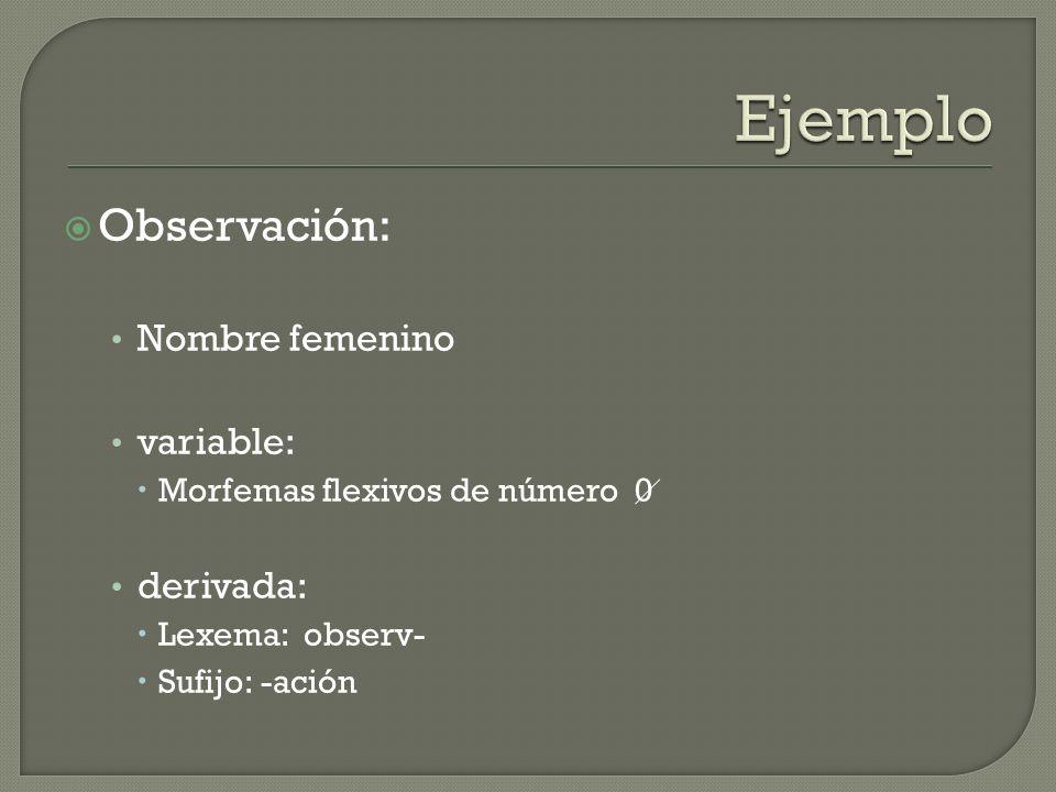 Observación: Nombre femenino variable: Morfemas flexivos de número 0 derivada: Lexema: observ- Sufijo: -ación