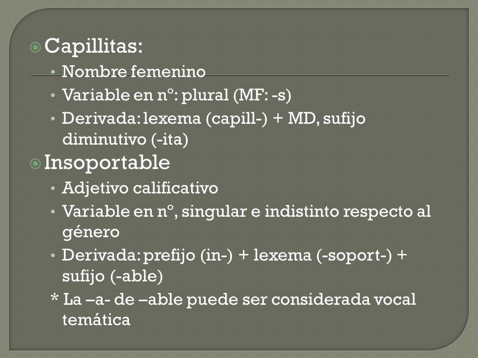 Capillitas: Nombre femenino Variable en nº: plural (MF: -s) Derivada: lexema (capill-) + MD, sufijo diminutivo (-ita) Insoportable Adjetivo calificativo Variable en nº, singular e indistinto respecto al género Derivada: prefijo (in-) + lexema (-soport-) + sufijo (-able) * La –a- de –able puede ser considerada vocal temática