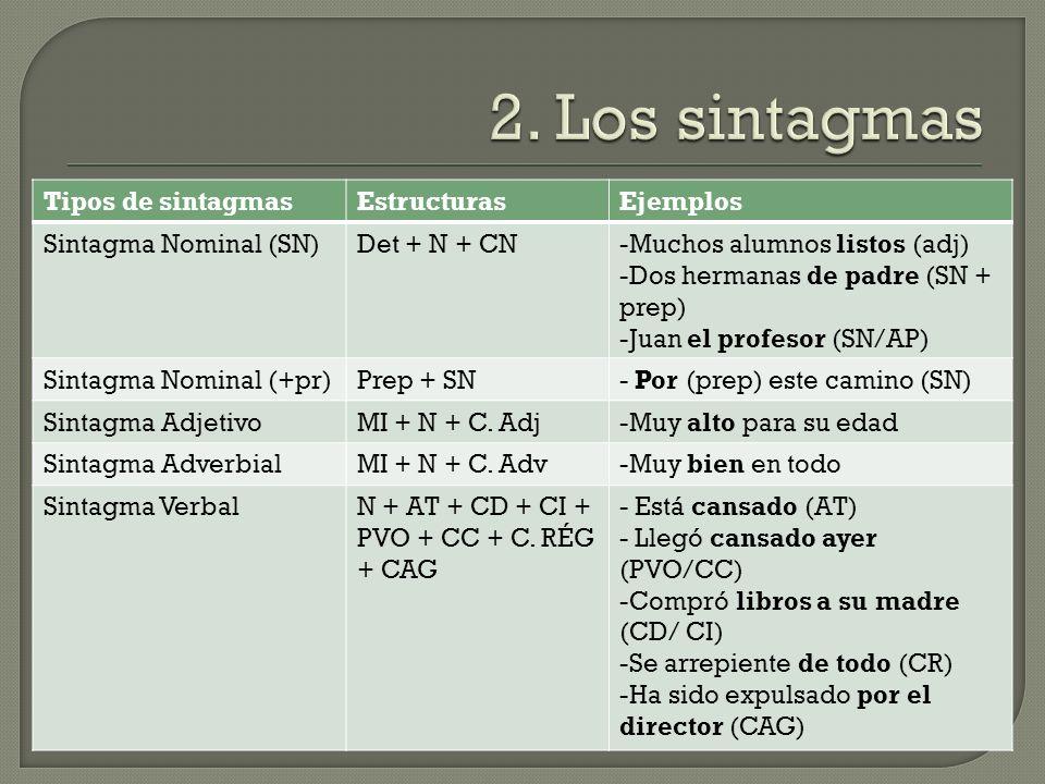 Tipos de sintagmasEstructurasEjemplos Sintagma Nominal (SN)Det + N + CN-Muchos alumnos listos (adj) -Dos hermanas de padre (SN + prep) -Juan el profesor (SN/AP) Sintagma Nominal (+pr)Prep + SN- Por (prep) este camino (SN) Sintagma AdjetivoMI + N + C.