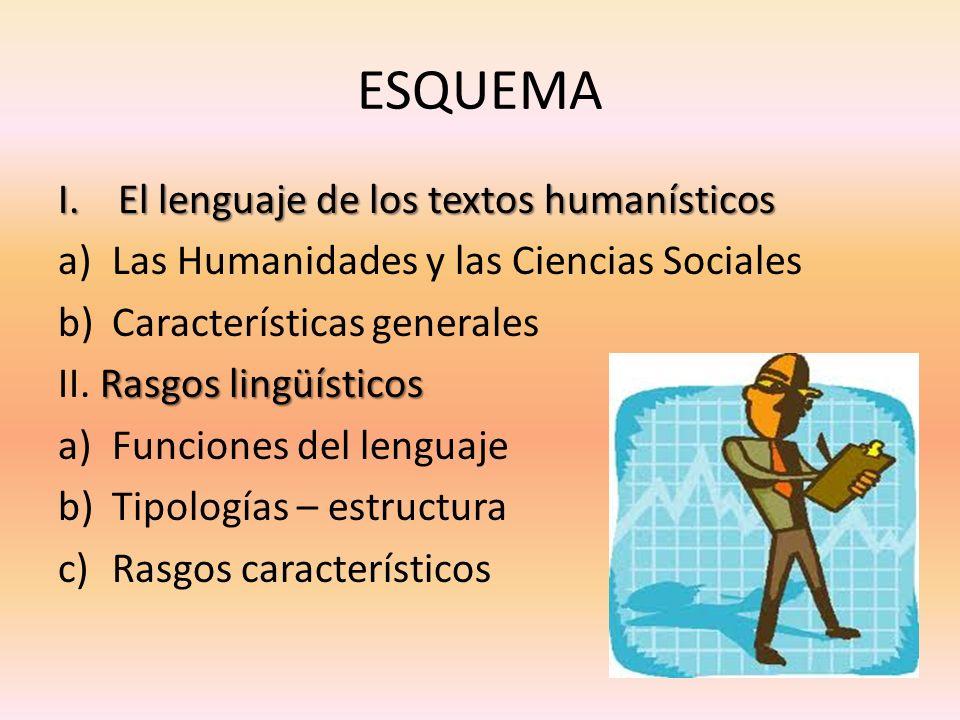 ESQUEMA I.El lenguaje de los textos humanísticos a)Las Humanidades y las Ciencias Sociales b)Características generales Rasgos lingüísticos II. Rasgos