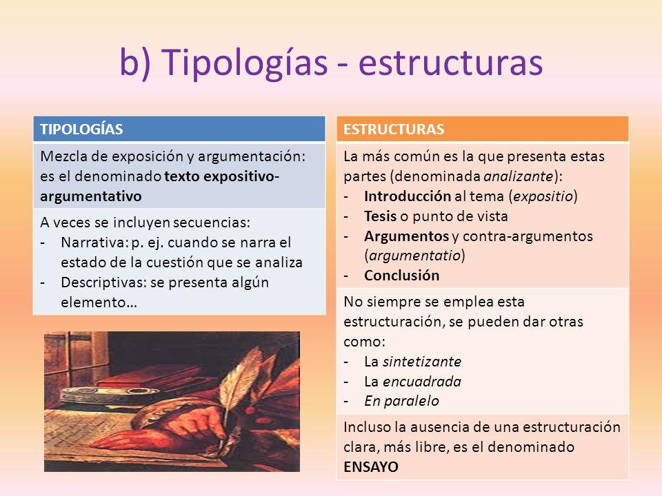 b) Tipologías - estructuras TIPOLOGÍAS Mezcla de exposición y argumentación: es el denominado texto expositivo- argumentativo A veces se incluyen secu