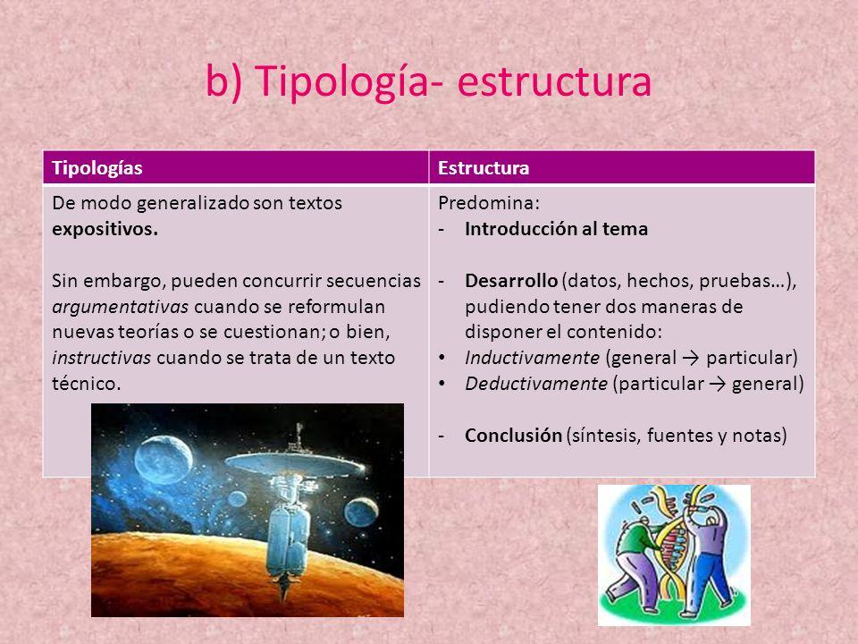 b) Tipología- estructura TipologíasEstructura De modo generalizado son textos expositivos. Sin embargo, pueden concurrir secuencias argumentativas cua