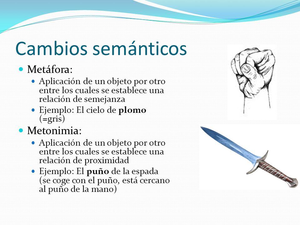 Cambios semánticos Metáfora: Aplicación de un objeto por otro entre los cuales se establece una relación de semejanza Ejemplo: El cielo de plomo (=gri