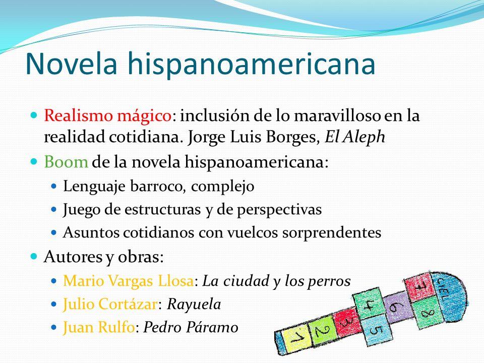 Novela hispanoamericana Realismo mágico: inclusión de lo maravilloso en la realidad cotidiana. Jorge Luis Borges, El Aleph Boom de la novela hispanoam