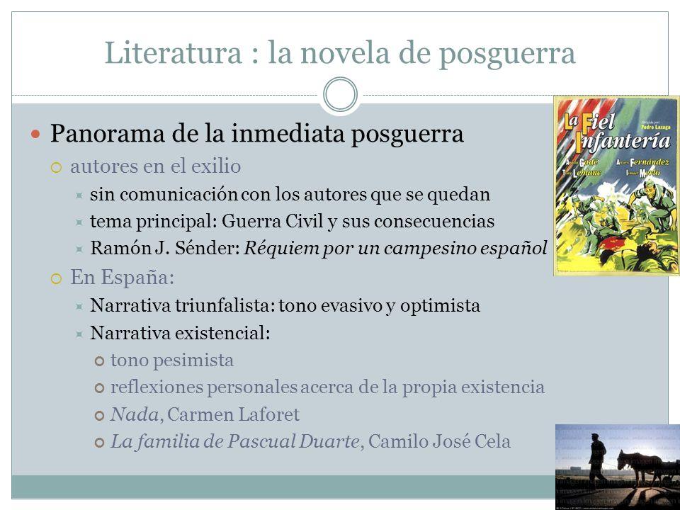 Literatura : la novela de posguerra Panorama de la inmediata posguerra autores en el exilio sin comunicación con los autores que se quedan tema princi