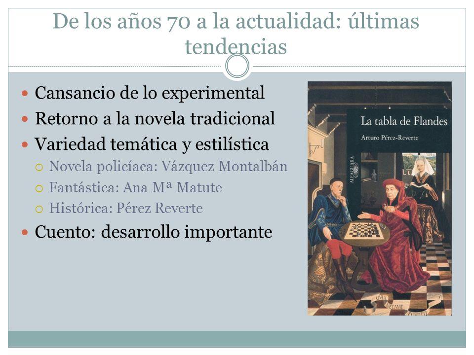 De los años 70 a la actualidad: últimas tendencias Cansancio de lo experimental Retorno a la novela tradicional Variedad temática y estilística Novela