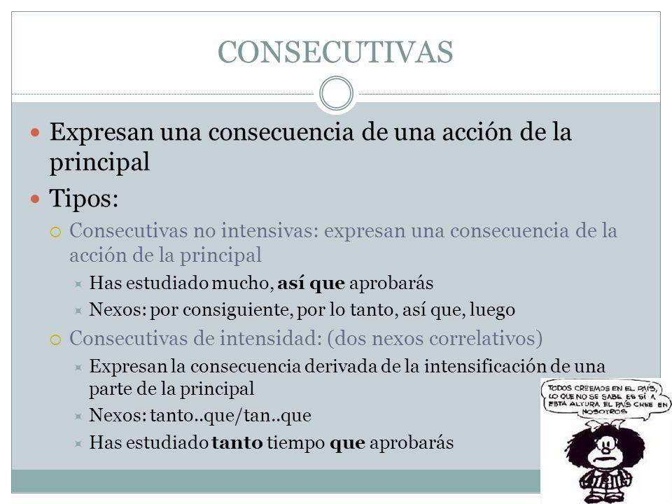 CONSECUTIVAS Expresan una consecuencia de una acción de la principal Tipos: Consecutivas no intensivas: expresan una consecuencia de la acción de la p