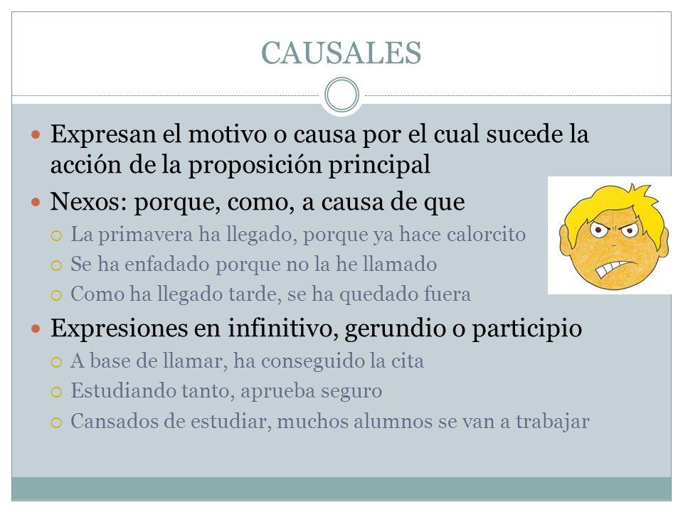 CAUSALES Expresan el motivo o causa por el cual sucede la acción de la proposición principal Nexos: porque, como, a causa de que La primavera ha llega