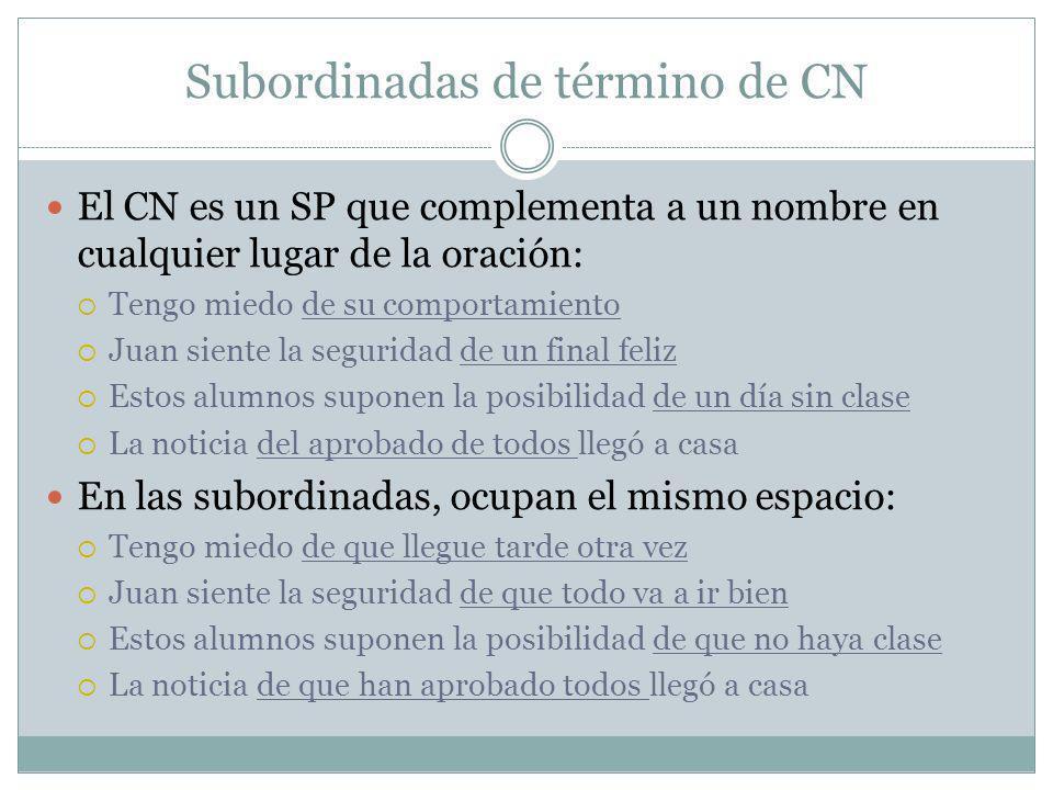 Subordinadas de término de CN El CN es un SP que complementa a un nombre en cualquier lugar de la oración: Tengo miedo de su comportamiento Juan sient