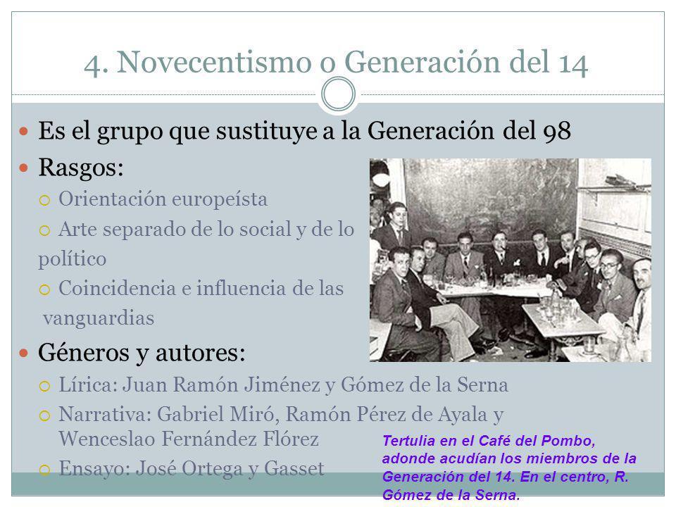 4. Novecentismo o Generación del 14 Es el grupo que sustituye a la Generación del 98 Rasgos: Orientación europeísta Arte separado de lo social y de lo