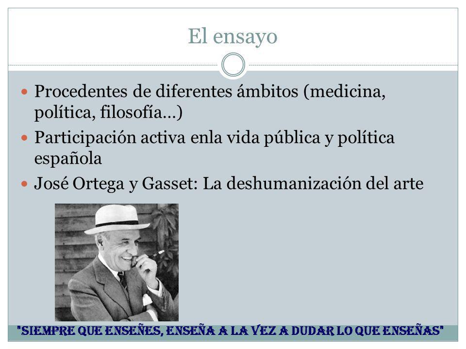 El ensayo Procedentes de diferentes ámbitos (medicina, política, filosofía…) Participación activa enla vida pública y política española José Ortega y