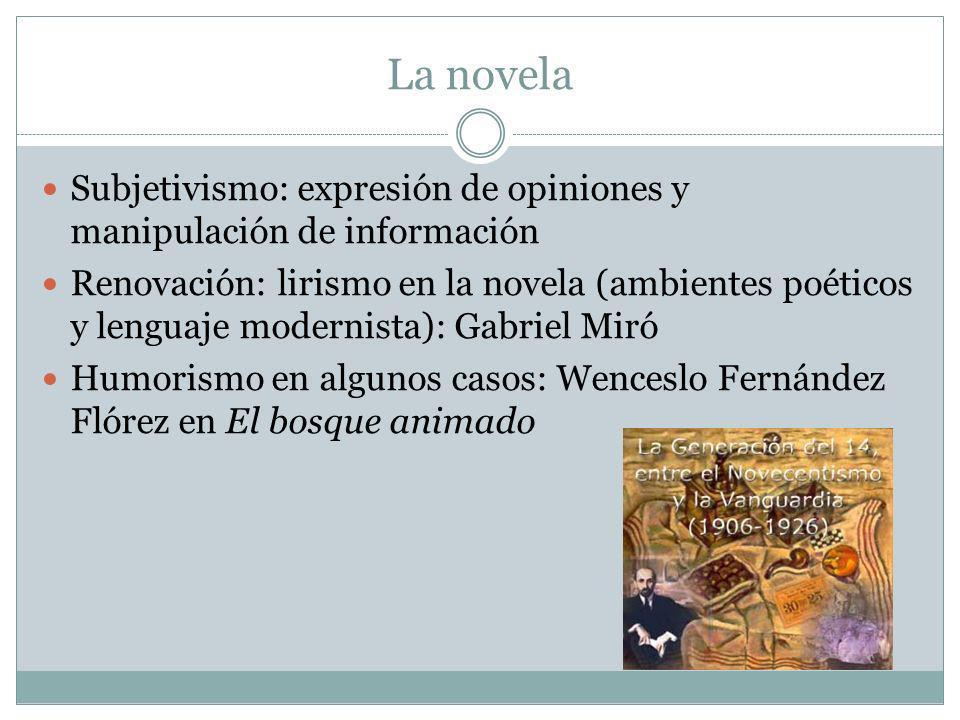 La novela Subjetivismo: expresión de opiniones y manipulación de información Renovación: lirismo en la novela (ambientes poéticos y lenguaje modernist