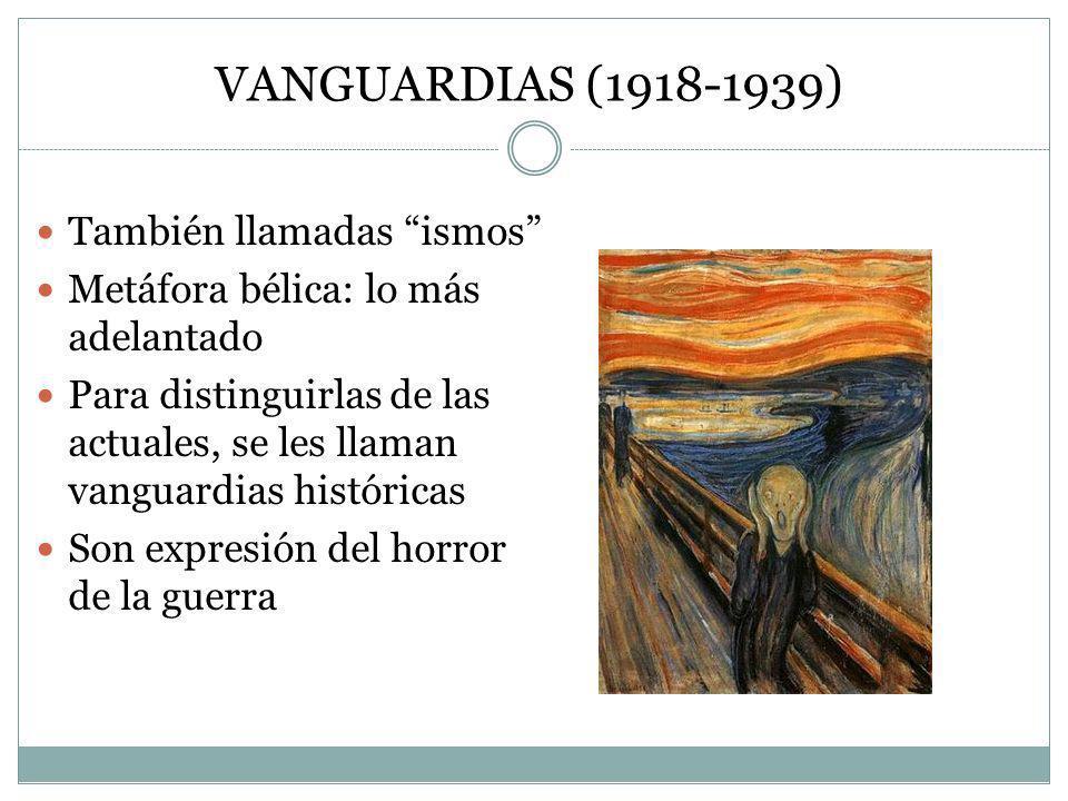VANGUARDIAS (1918-1939) También llamadas ismos Metáfora bélica: lo más adelantado Para distinguirlas de las actuales, se les llaman vanguardias histór