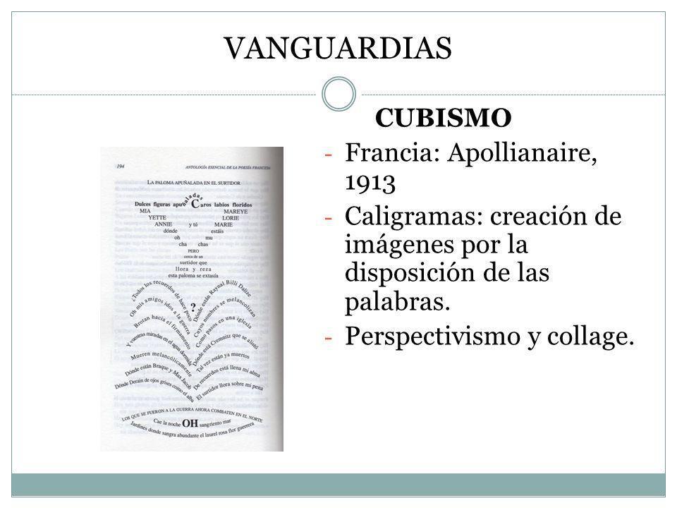 VANGUARDIAS CUBISMO - Francia: Apollianaire, 1913 - Caligramas: creación de imágenes por la disposición de las palabras. - Perspectivismo y collage.