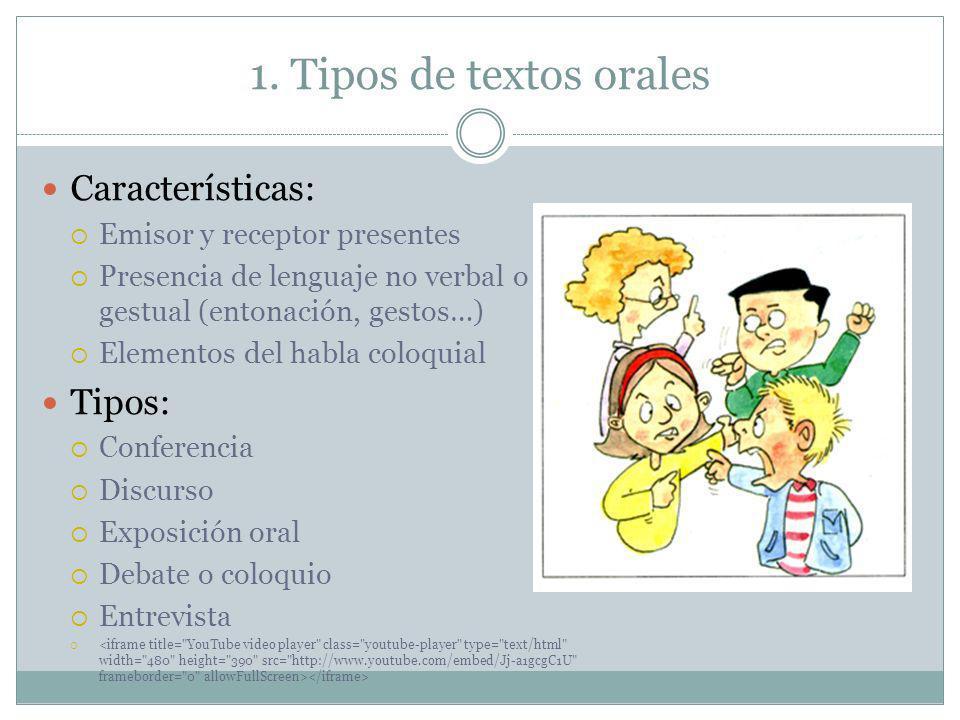 1. Tipos de textos orales Características: Emisor y receptor presentes Presencia de lenguaje no verbal o gestual (entonación, gestos…) Elementos del h