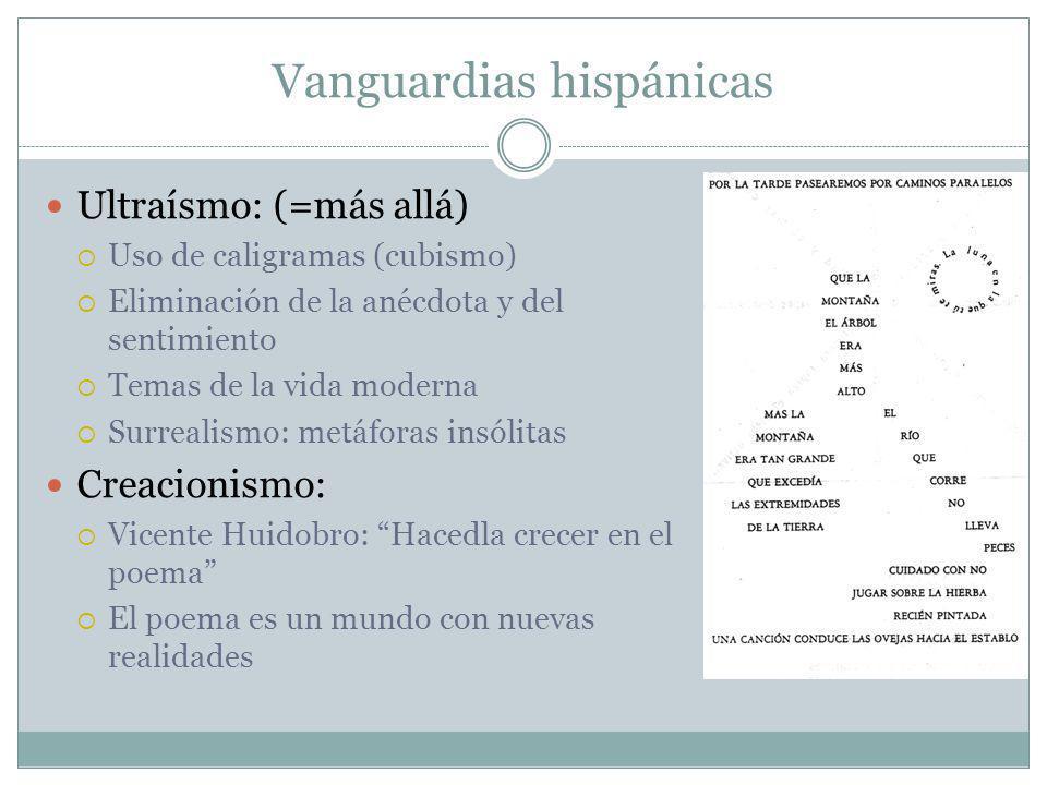 Vanguardias hispánicas Ultraísmo: (=más allá) Uso de caligramas (cubismo) Eliminación de la anécdota y del sentimiento Temas de la vida moderna Surrea