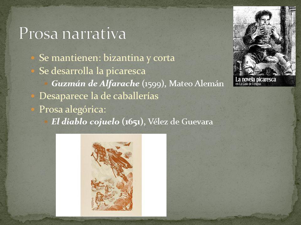 Se mantienen: bizantina y corta Se desarrolla la picaresca Guzmán de Alfarache (1599), Mateo Alemán Desaparece la de caballerías Prosa alegórica: El d