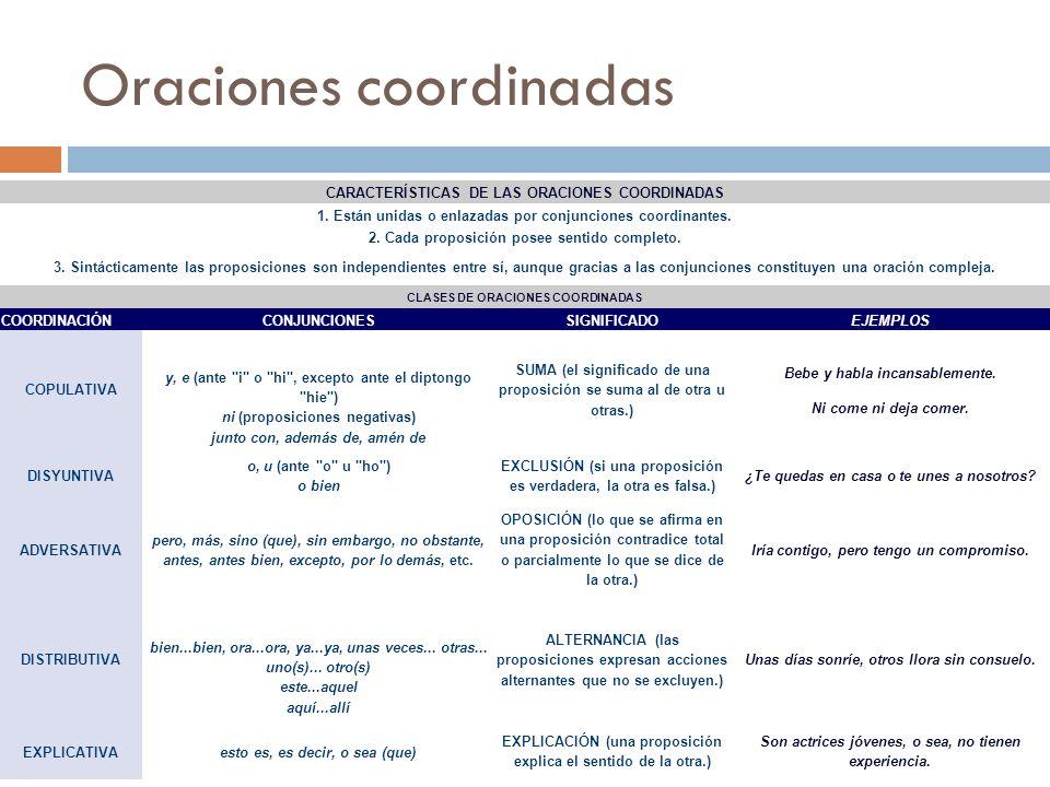 Oraciones coordinadas CARACTERÍSTICAS DE LAS ORACIONES COORDINADAS 1. Están unidas o enlazadas por conjunciones coordinantes. 2. Cada proposición pose