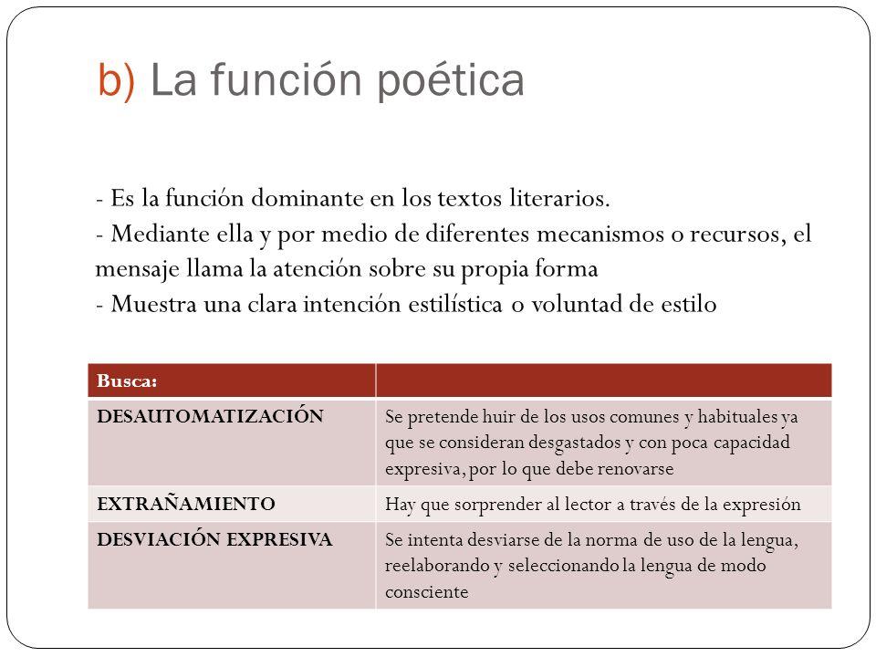 b) La función poética Busca: DESAUTOMATIZACIÓNSe pretende huir de los usos comunes y habituales ya que se consideran desgastados y con poca capacidad