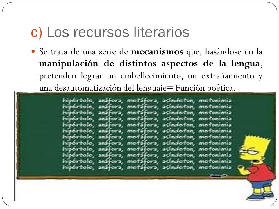 c) Los recursos literarios Se trata de una serie de mecanismos que, basándose en la manipulación de distintos aspectos de la lengua, pretenden lograr