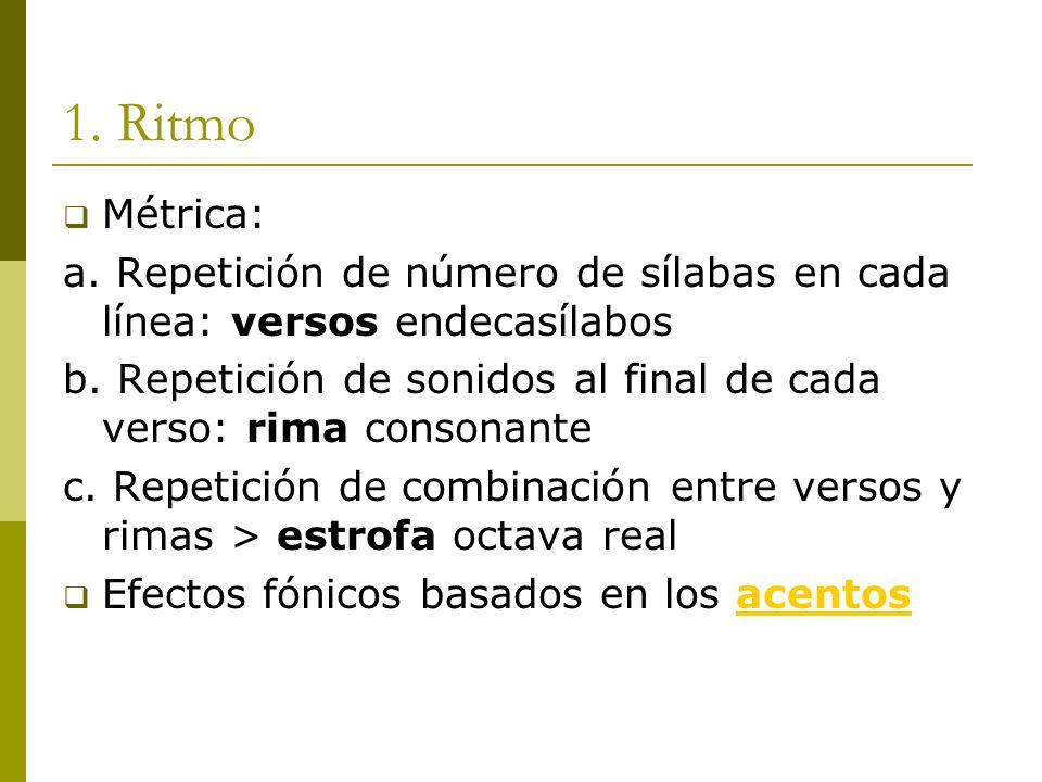 1. Ritmo Métrica: a. Repetición de número de sílabas en cada línea: versos endecasílabos b. Repetición de sonidos al final de cada verso: rima consona