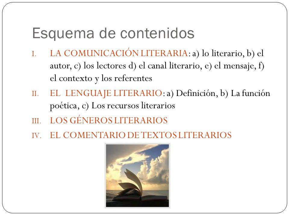 Esquema de contenidos I. LA COMUNICACIÓN LITERARIA: a) lo literario, b) el autor, c) los lectores d) el canal literario, e) el mensaje, f) el contexto