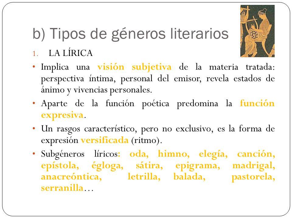b) Tipos de géneros literarios 1. LA LÍRICA Implica una visión subjetiva de la materia tratada: perspectiva íntima, personal del emisor, revela estado