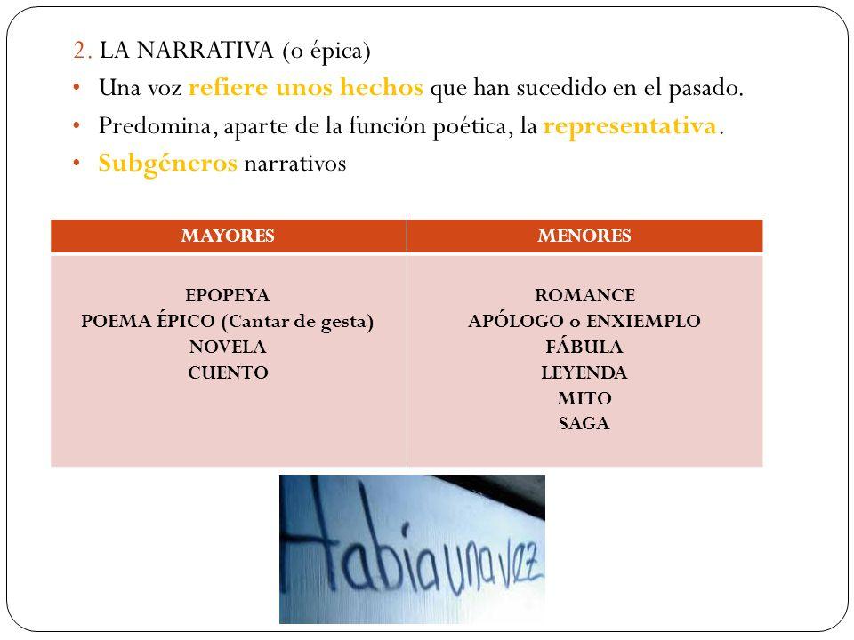 2. LA NARRATIVA (o épica) Una voz refiere unos hechos que han sucedido en el pasado. Predomina, aparte de la función poética, la representativa. Subgé