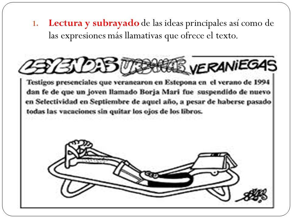 1. Lectura y subrayado de las ideas principales así como de las expresiones más llamativas que ofrece el texto.