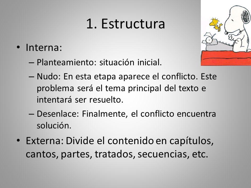 1. Estructura Interna: – Planteamiento: situación inicial. – Nudo: En esta etapa aparece el conflicto. Este problema será el tema principal del texto