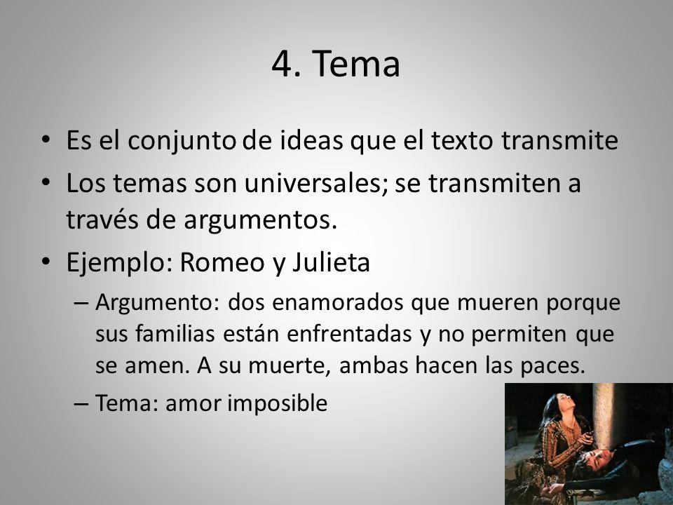 4. Tema Es el conjunto de ideas que el texto transmite Los temas son universales; se transmiten a través de argumentos. Ejemplo: Romeo y Julieta – Arg